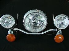 TOURING HALOGEN TRI-BAR HEADLIGHT AND PASSING LIGHT SET, FITS HARLEY & OTHERS