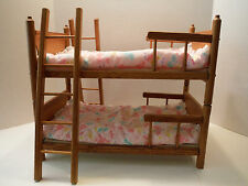 "LARGE WOODEN DOLL HOUSE BUNK BEDS 17"" X 9 1/2"" WITH COMFORTERS,PADS, & LADDERS"