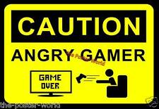 CAUTION ANGRY GAMER IMAGE PICTURE POSTER WALL ART PRINT NEW XBOX PSP PS4