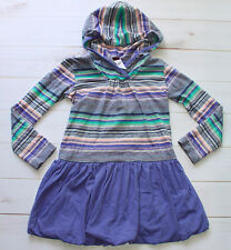 TEA COLLECTION HOODED BUBBLE DRESS 5 EUC HOODIE STOLZL STRIPED GUC BLUE GIRLS 4