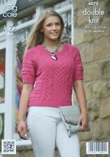 KNITTING PATTERN Ladies Short Sleeve Round Neck Cable Jumper DK King Cole 4075