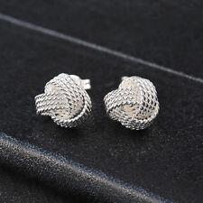 1 Pair 925 Silver Plated Braid Knot Shape Ear Stud Earrings Women Jewelry Gift