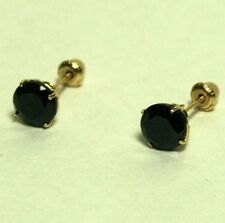 14k solid yellow gold natural 8mm black onyx stud screw back earrings