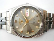 Excellent Vintage Gray Sun Ray Dial  Seiko 5 Japan Day Date Automatic Mens Watch