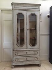 French Antique Style Glazed Armoire Display Cabinet Painted Grey Bookcase