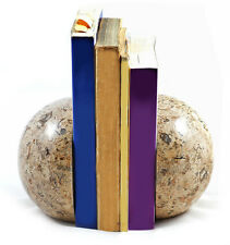 Set of heavy cream fossil stone marble sphere book ends bookends great gift