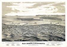 "20x30""Poster Decor.Room  art print.San Diego Aerial view map.Bird eye.5997"
