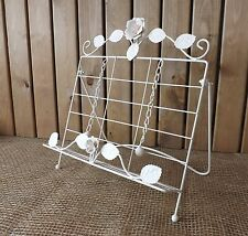 Shabby Chic Cream Rustic Country Rose Metal Kitchen Recipe Cook Book Stand