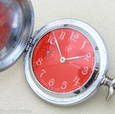 Rare MOLNIJA MOLNIA SCARLET RED GROUSE USSR SIGN Soviet Mechanical Pocket Watch