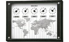 BRAND NEW Seiko Wooden Wall Clock with World Times QXA539K