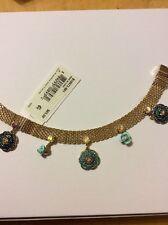 $65  Betsey Johnson Skull & Roses Gold Tone Flex Bracelet BT 6
