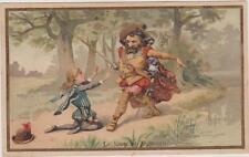 IMAGE ANCIENNE-FABLE DE LA FONTAINE LE LOUP ET L'AGNEAU-représenté en personnage