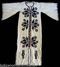 Robe ceremonial gothic hand embroidered dress black flower wiccan hippie witch