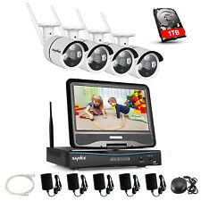 """SANNCE Wireless WIFI 10"""" LCD Monitor DVR 4pcs 720P Home Security Camera System"""