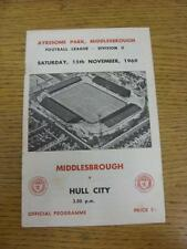 15/11/1969 Middlesbrough v Hull City  (Faint Foxing Marks). Item in very good co