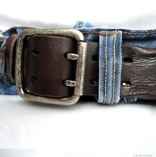 Genuine vintage Leather belt 43 mm Waist handmade classic retro size M natural