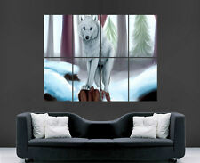 SNOW WHITE WOLF POSTER ANIMAL NATURE GIANT LARGE WALL ART POSTER PICTURE BIG