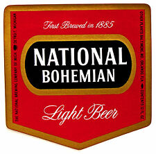 National Brewing Co of Mich NATIONAL BOHEMIAN LIGHT BEER paper label MI 12oz