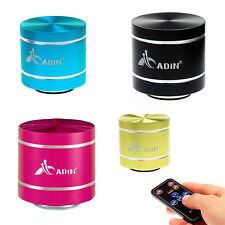 Mini Portable ADIN 360° Vibration Speaker FM Radio TF Card Slot Remote Control