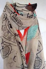 Timbre imprimé foulard pour femme femmes vintage look classique courrier enveloppe surdimensionné wrap