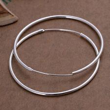 Boucles D'oreilles Dames Créoles 50mm pl. avec Argent sterling