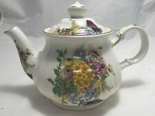 Vintage Windsor English Sadler Porcelain Flower Bouquet Floral Teapot & Lid