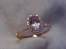 *ESTATE*MORGANITE & PAVE SET DIAMOND HALO RING 10K ROSE GOLD sz6.5  *NO RESERVE*