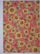 papier peint pour cartonnage ou reliure (thème:rose et tournesol) 68X48cm