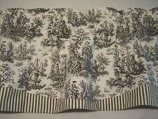 NEW~BLACK ON WHITE~WAVERLY Rustic Toile/Striped Ticking Trim Valance CURTAINS!!!