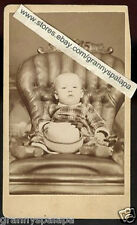 CDV Photo - Close Up, Baby  Sitting In Unique Chair, Holding Hat