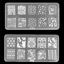 1x Nail Art Stamp Stencil Stamping Template Plate Set Tool Stamper Design Kit