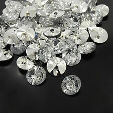 100pcs Acrylic Rhinestone Buttons 1-Hole Faceted Garment Sewing Craft 10mm DIY