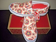 Vans Classic Slip On Womens Vintage Floral Burnt Coral Canvas shoes size 8 NWT