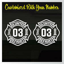 Volunteer FireFighter Fireman YOUR Number Set of 2 WHITE Decal Stickers 6.5""