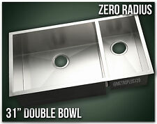 "31"" Double Bowl Undermount 16 Gauge 304 Stainless Steel Kitchen Sink Zero Radius"