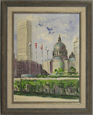 Canadian Vintage Original Oil on Board Painting Cityscape Illegibly Signed
