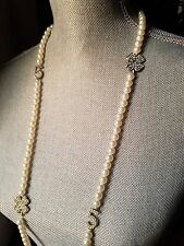 ~ Impressive New Runway Faux White Pearl Crystal Long #5 Clover Silver NECKLACE