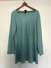 NWT Eileen Fisher SZ L Silk & Cashmere Ballet Neck Tunic Sweater $198 Lt Blue