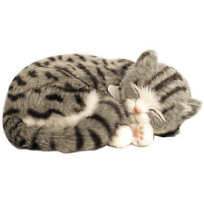NEW Perfect Petzzz Gray Tabby Cat Lifelike Stuffed Animal w/ Carrier Bed & Brush