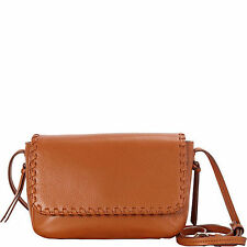 Cole Haan NWT acorn Brown Whipstitch Leather Crossbody Flap Bag