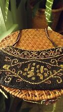 "Adorable Small Black/Bronze Beaded Vintage Dress/Evening Bag 4.5""T, 11""W"