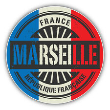 Marselle City France Flag Grunge Stamp Car Bumper Sticker Decal 5'' x 5''
