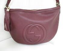 Authentic GUCCI Bordeaux Soho Double G 295175 Leather Shoulder Bag w/ Dust Bag