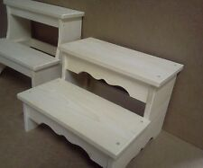 wooden wide 2 step foot bed stool unfinished pine wood boy and girls hand made