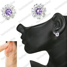CLIP ON magnetic studs PURPLE CZ flower CRYSTAL silver rhinestone STUD EARRINGS
