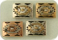 2 Hole Beads Aztec Southwest Pattern Squares 3T Silver Copper Gold Sliders QTY 4