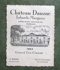 Wine Label 1964 Chateau Dauzac Labarde-Margaux Grand Cru France  #860