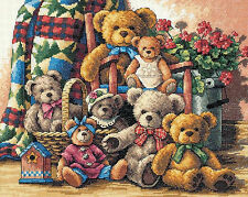 Cross Stitch Kit ~ Gold Collection Teddy Bear Gathering Family Portrait #35115