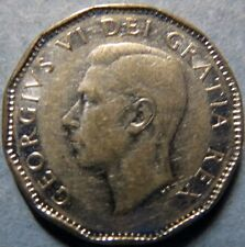 *Vintage  1952 CANADA  5 CENTS COIN, Very Fine Circulated KING GEORGE VI COIN