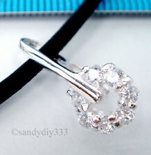 1x STERLING SILVER CZ CRYSTAL FLOWER PENDANT PINCH BAIL CLASP 8.8mm 18.5mm #1671